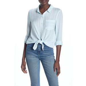 Abound Blue O Leona Weekend Tie Front Shirt